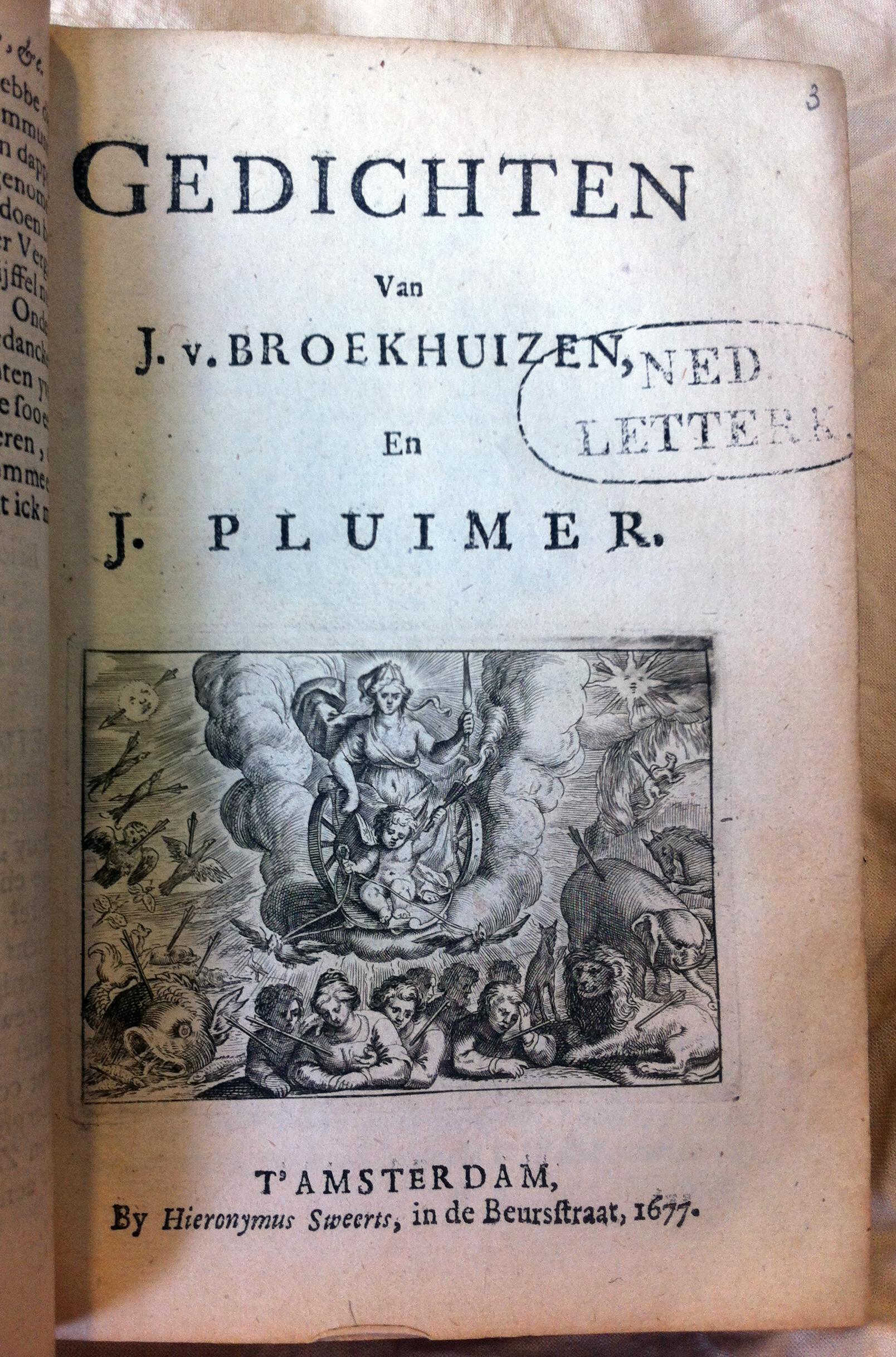 Johan Broekhuizen En Joan Pluimer Gedichten 1677